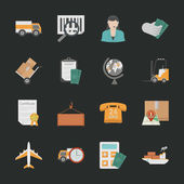 Logistics icons with black background — Stock Vector