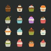 Süße Muffins Symbole — Stockvektor