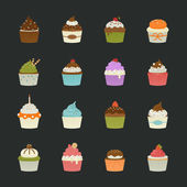 ícones de cupcakes doce — Vetor de Stock