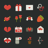 Valentine's day icons, love symbols , flat design — Stock Vector