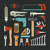 Hand tools icon set , flat design — Stock Vector