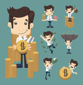 Set of businessman make money characters poses — Stock Vector
