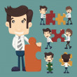 Set of businessman holding up jigsaw puzzle pieces as a solution — Stock Vector