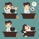 Set of businessman sitting on desk , office worker — Stock Vector #40327565