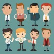 Set of businessman characters poses , office worker — Stock Vector