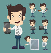 Set of businessman show tablet and smart phone characters poses — Stock Vector