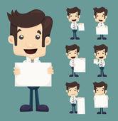 Satz der unternehmer holding leer notizen zeichen posen — Stockvektor