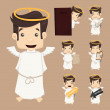 Set of angel characters poses — Stock Vector