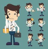 エレガントなスーツ作業で多くの手があるビジネスマンのセット — ストックベクタ