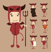 Set of devil characters poses — Stock Vector