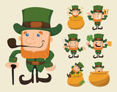 Set of leprechaun characters poses — Stockvektor