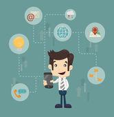 Tecnologia de comunicação do empresário — Vetor de Stock