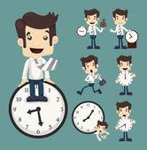 Набор бизнесмена и будильник — Cтоковый вектор