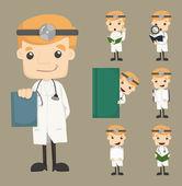 Sada doktor znaky pózy — Stock vektor