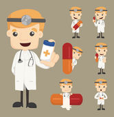 Set of doctor characters poses with the pill — Stock Vector