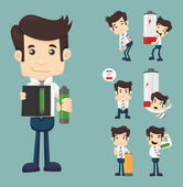 Set of businessman with battery — Stock Vector