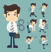 Set of businessman with wind-up key — Stock Vector