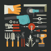Hand tools icon set , flat design — Stock Vector