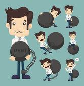 Set of businessman burden with Debt — Stock Vector