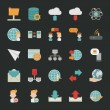 Communication icons with black background — Stok Vektör