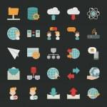 Communication icons with black background — Wektor stockowy