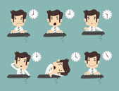 Set of businessman working time — Stock Vector