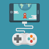 Mobile gaming concept  , flat design — Stock Vector