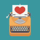 Vintage typewriter and red heart on paper sheet   — Stock Vector