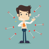 Businessman tearing his shirt to show target symbol  — Stock Vector