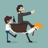 Businessman carrying boss — Stock Vector