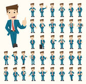 Set of businessman characters poses — Stock Vector