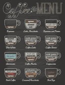 Set of coffee menu in vintage style with chalkboard — Stock Vector