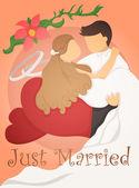 только что вышла замуж свадьба дизайн пригласительный билет — Cтоковый вектор
