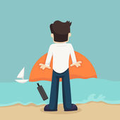 Businessman relaxing on the beach — Stock Vector