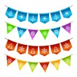 Stock Vector: Christmas bunting flags