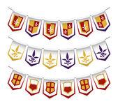 Heraldic bunting flags — Stock Vector
