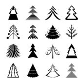 Set of graphical Christmas trees icons — Stock Vector