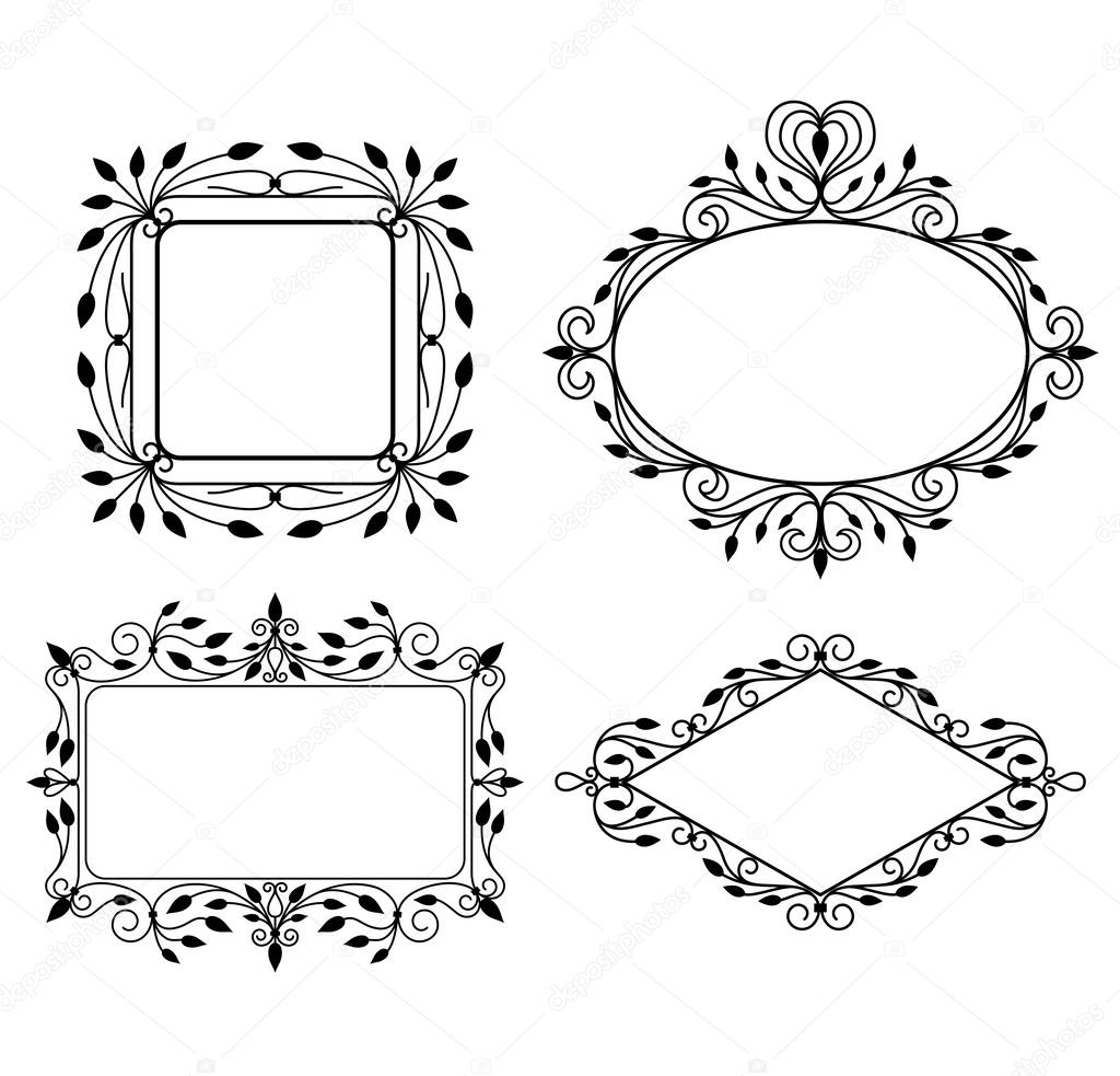 Set of vintage graphic frames — ベクター素材ストック #13120793