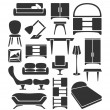 Stock Vector: Graphical furniture set