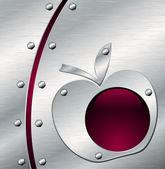 Metalen apple achtergrond — Stockvector
