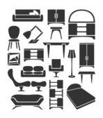 Grafische möbel set — Stockvektor