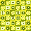 Seamless vector pattern with lemons, apples and kiwi — Stock Vector