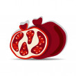 Stock Vector: Pomegranates