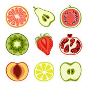 Isolated hand-drawn cut fruits — Stockvektor