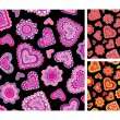 Stock Vector: Seamless hand-drawn hearts patterns