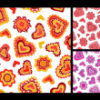Seamless hand-drawn hearts patterns — Stock Vector #18215235