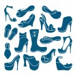 Stock Vector: Fashionable footwear icons