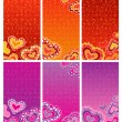 Decorative banners with hearts — Stock Vector