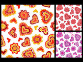 Seamless hand-drawn hearts patterns — Stock Vector
