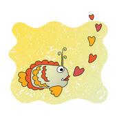 Funny fish cartoon — Stock Vector